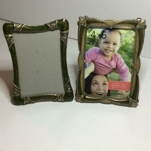 Pair 4x6 green deco picture metal frames